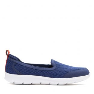 Clarks Step Allena Lo Navy Textile Womens Shoes